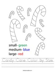 Candy Cane Color by Size Handwriting Sheet
