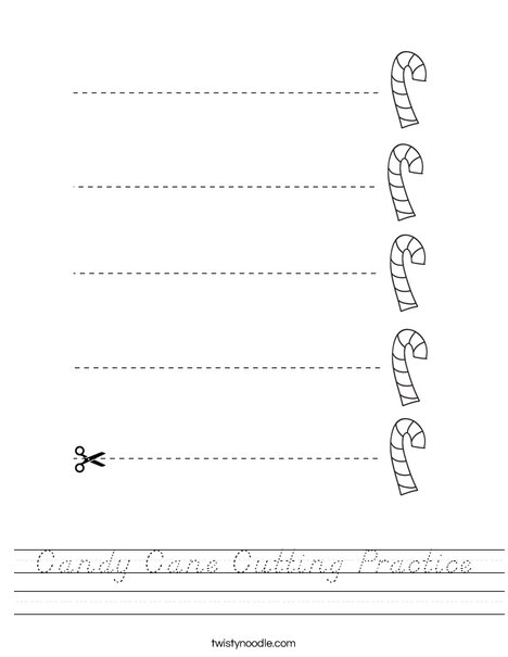 Candy Cane Cutting Practice Worksheet