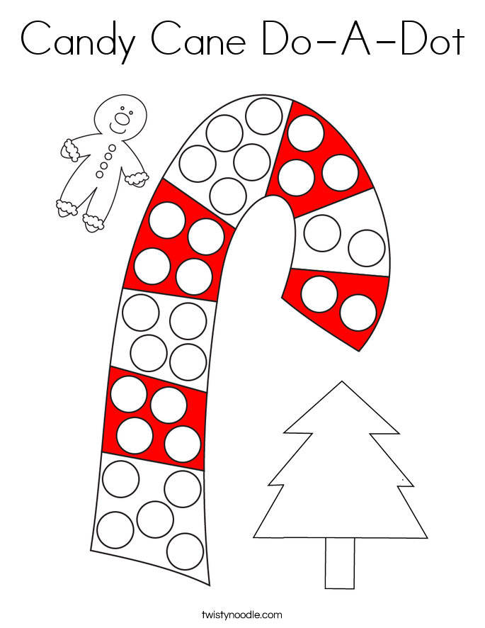 Candy Cane Do-A-Dot Coloring Page