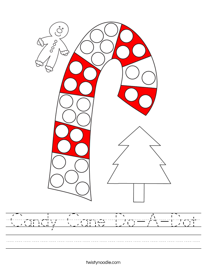 Candy Cane Do-A-Dot Worksheet