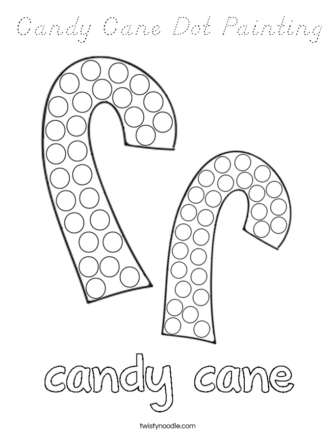Candy Cane Dot Painting Coloring Page