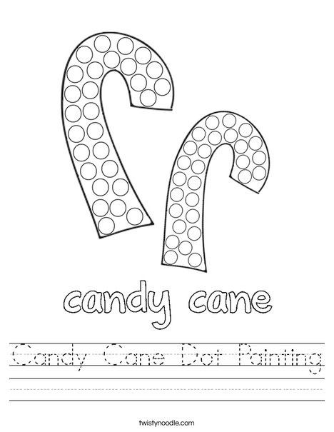 Candy Cane Dot Painting Worksheet