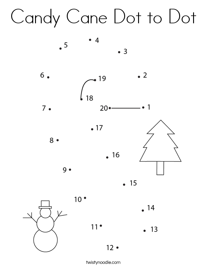 Candy Cane Dot to Dot Coloring Page