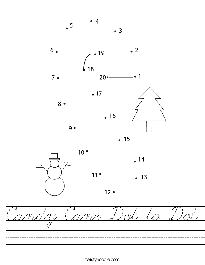 Candy Cane Dot to Dot Worksheet