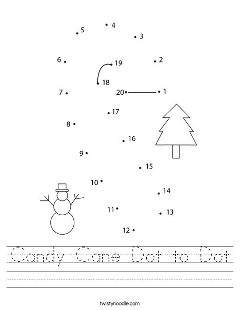 Candy Cane Dot to Dot Worksheet