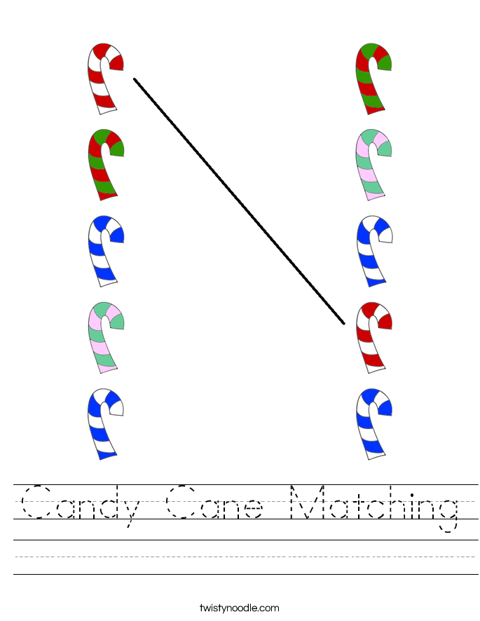 Candy Cane Matching Worksheet