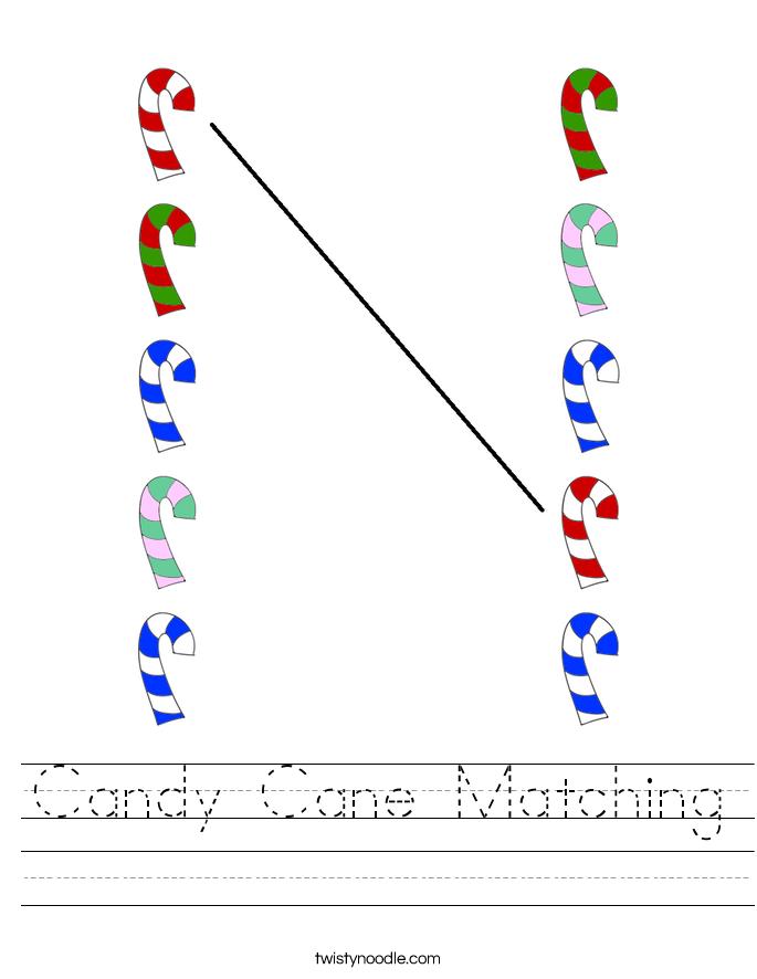 Candy Cane Matching Worksheet
