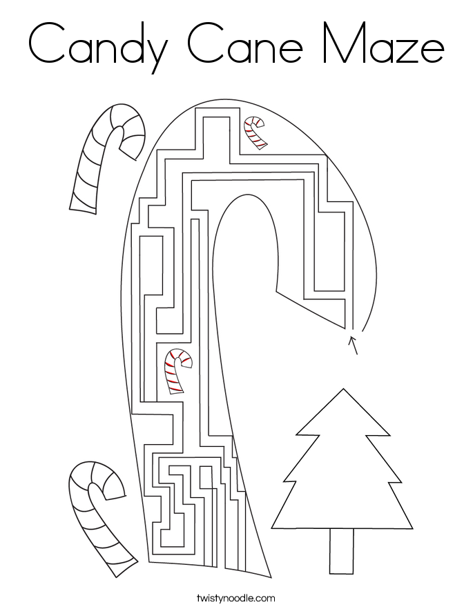 Candy Cane Maze Coloring Page