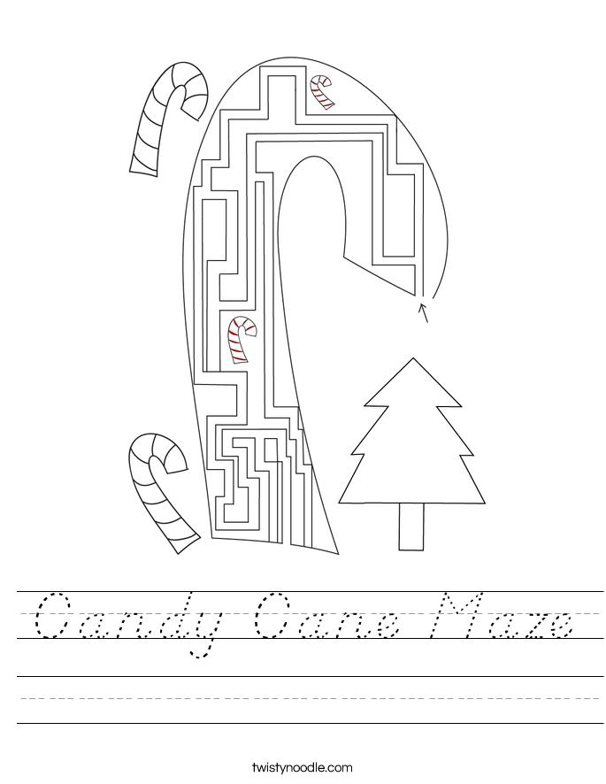 Candy Cane Maze Worksheet