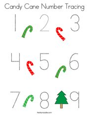 Candy Cane Number Tracing Coloring Page