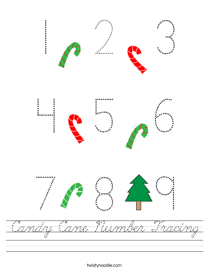 Candy Cane Number Tracing Worksheet