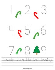 Candy Cane Number Tracing Handwriting Sheet