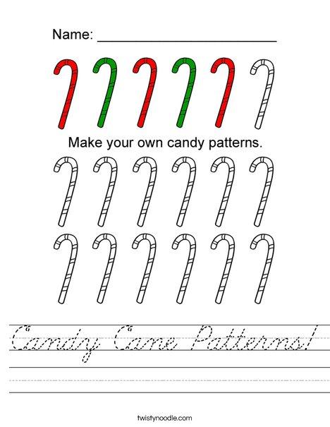 Candy Cane Patterns Worksheet
