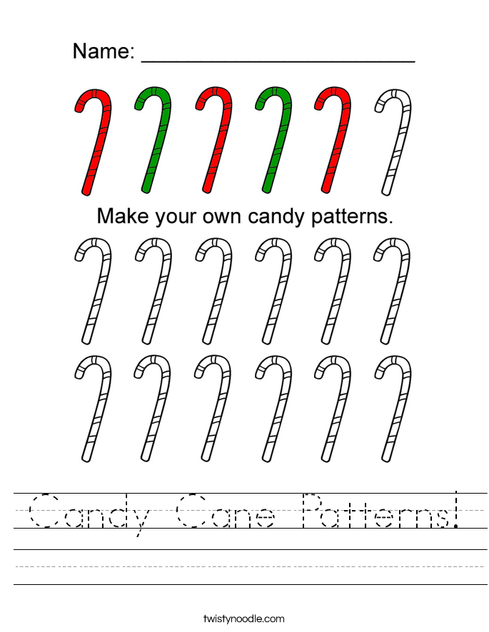 Candy Cane Patterns Worksheet - Twisty Noodle