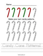 Candy Cane Patterns Handwriting Sheet