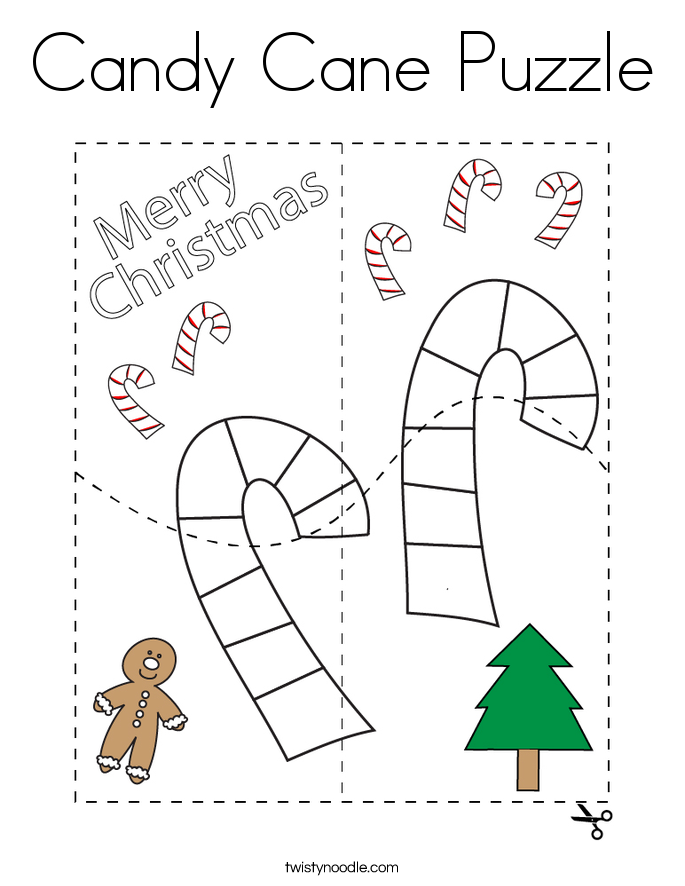 Candy Cane Puzzle Coloring Page