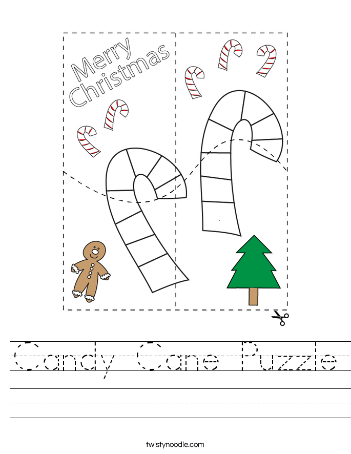 Candy Cane Puzzle Worksheet