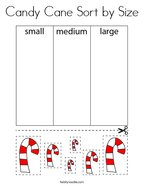 Candy Cane Sort by Size Coloring Page
