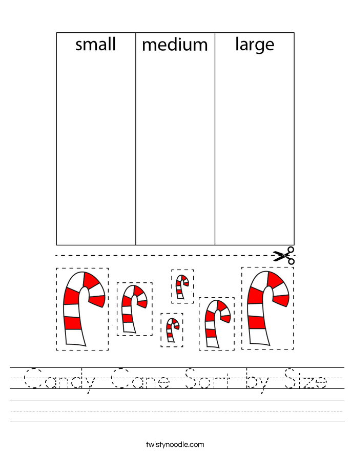 Candy Cane Sort by Size Worksheet