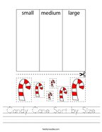 Candy Cane Sort by Size Handwriting Sheet