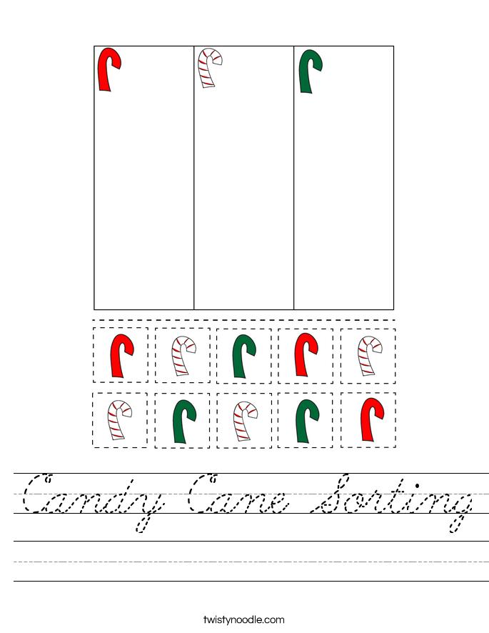 Candy Cane Sorting Worksheet