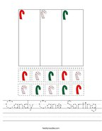 Candy Cane Sorting Handwriting Sheet