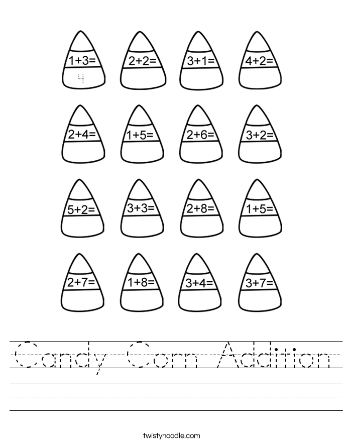Candy Corn Addition Worksheet - Twisty Noodle
