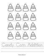 Candy Corn Addition Handwriting Sheet