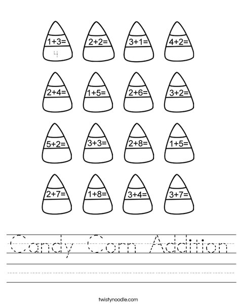 math worksheet : candy corn addition worksheet  twisty noodle : Candy Corn Math Worksheets