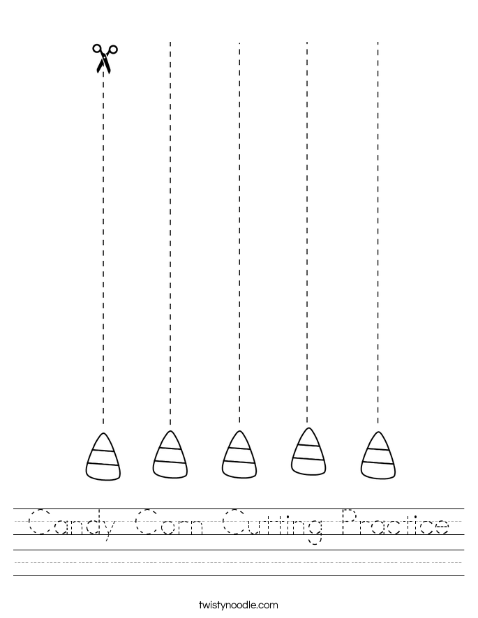 Candy Corn Cutting Practice Worksheet