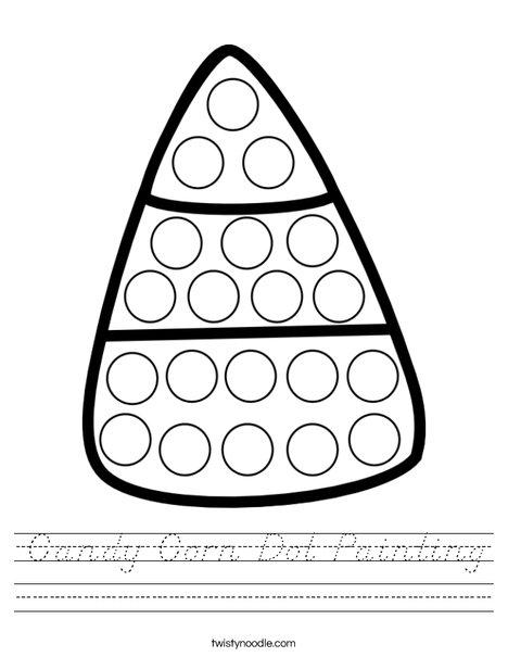 Candy Corn Dot Painting Worksheet
