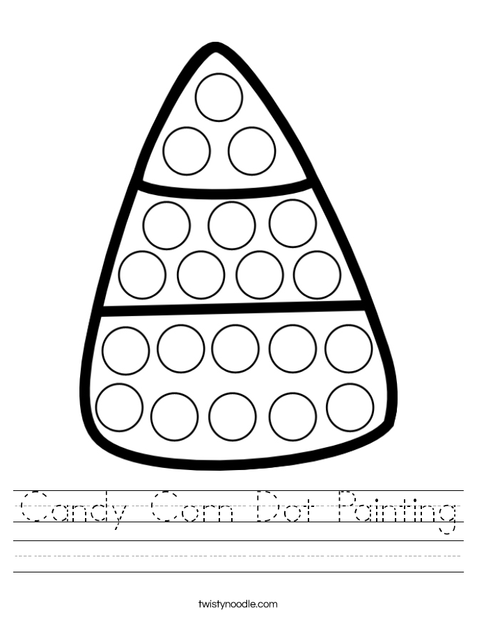 Candy Corn Dot Painting Worksheet