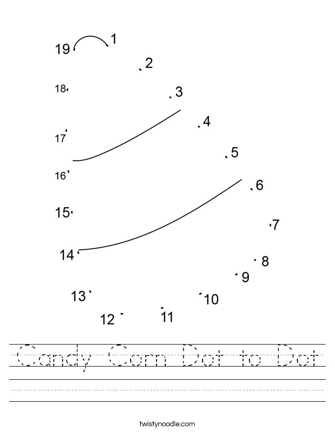 Candy Corn Dot to Dot Worksheet