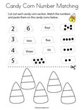 Candy Corn Number Matching Coloring Page