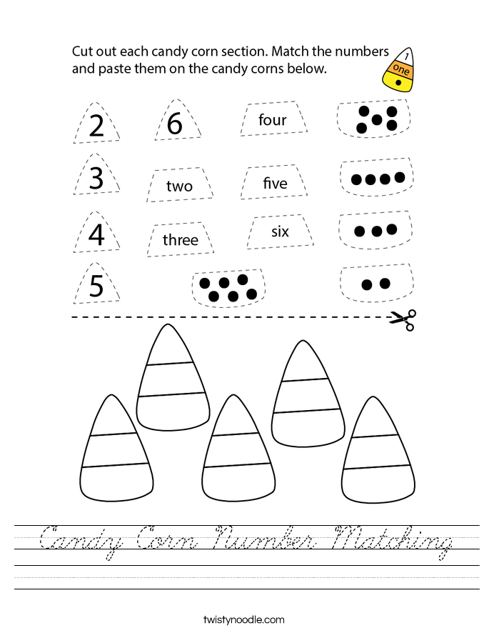 Candy Corn Number Matching Worksheet - Cursive - Twisty Noodle