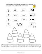 Candy Corn Number Matching Handwriting Sheet