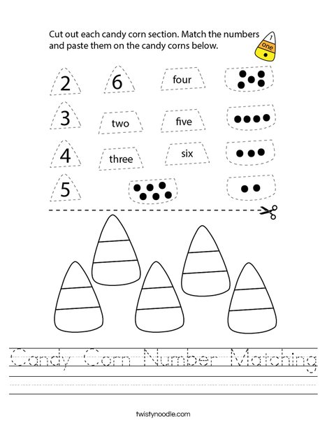 Candy Corn Number Matching Worksheet