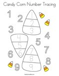 Candy Corn Number Tracing Coloring Page