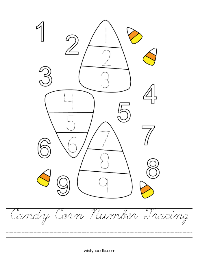 Candy Corn Number Tracing Worksheet