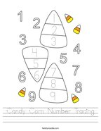 Candy Corn Number Tracing Handwriting Sheet