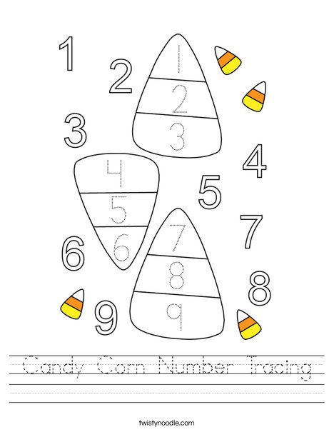 Candy Corn Number Tracing Worksheet - Twisty Noodle