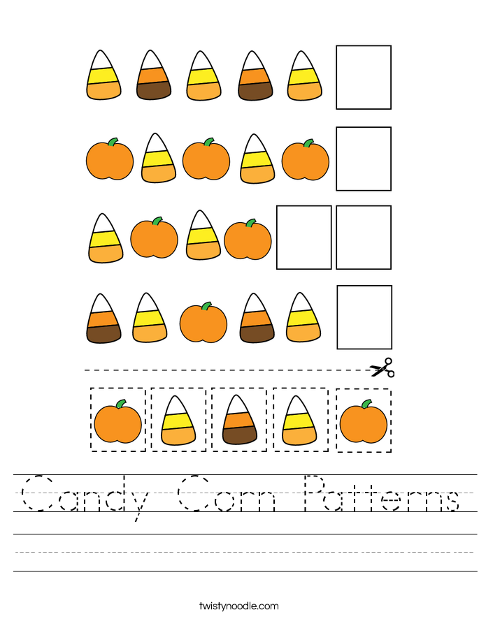 Candy Corn Patterns Worksheet
