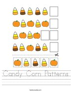 Candy Corn Patterns Handwriting Sheet