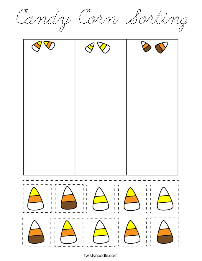 Candy Corn Sorting Coloring Page - Cursive - Twisty Noodle