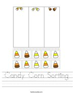 Candy Corn Sorting Handwriting Sheet