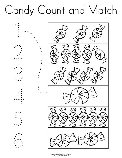 Candy Count and Match Coloring Page