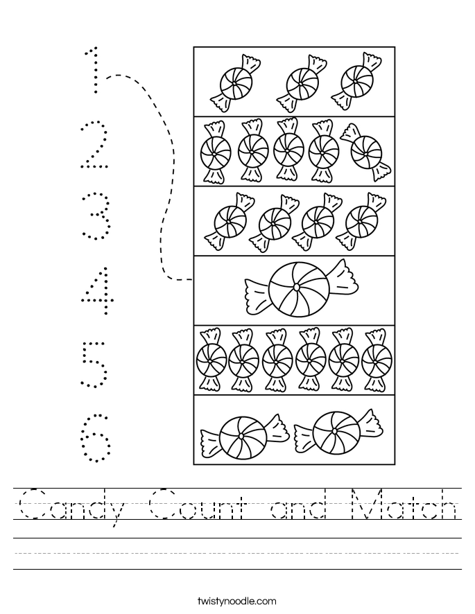 Candy Count and Match Worksheet