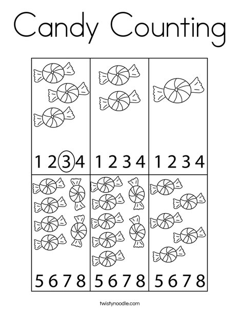 Candy Counting Coloring Page