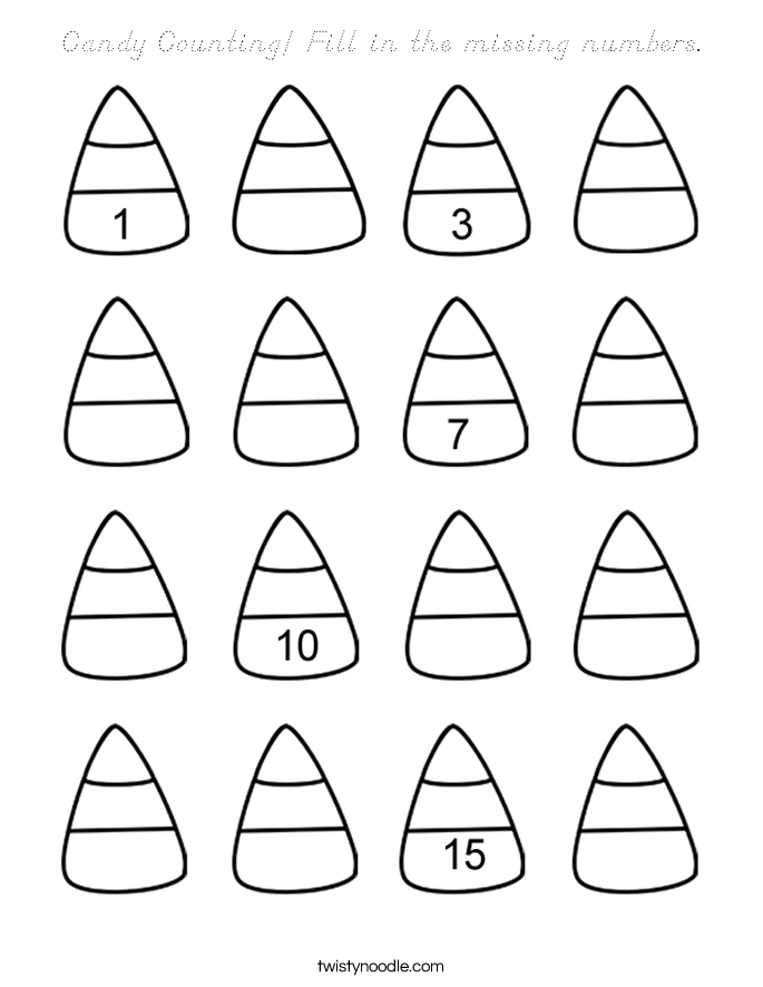 Candy Counting Fill in the missing numbers Coloring Page