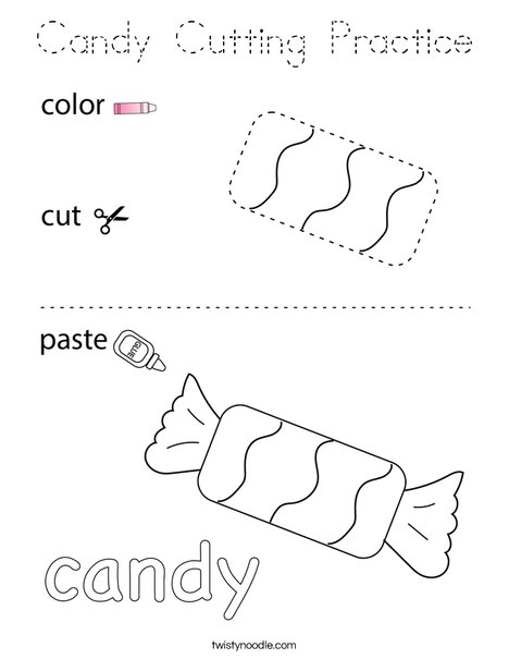 Candy Cutting Practice Coloring Page